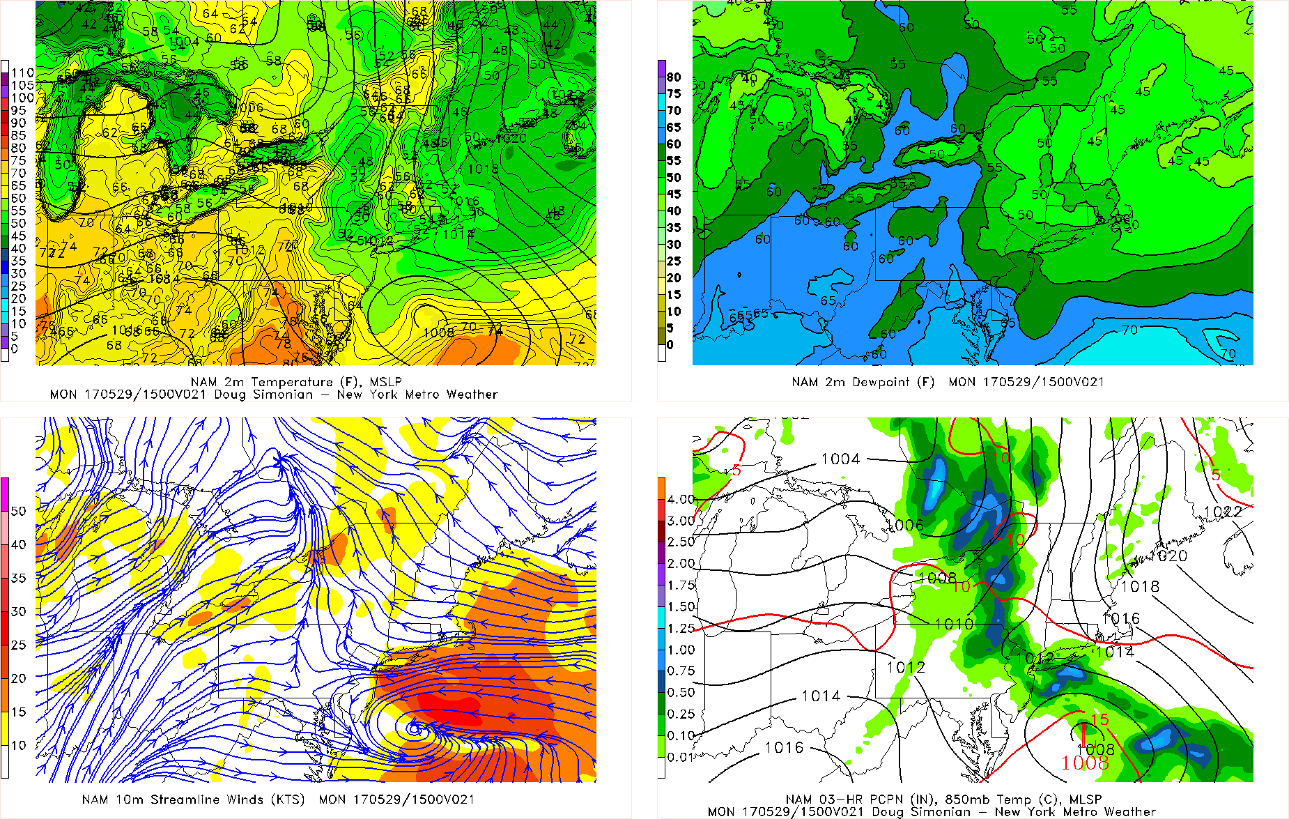 NAM model showing rain with frontal system and offshore low