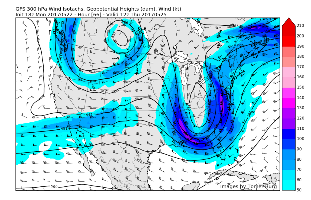This afternoons American model showing very impressive upper level jet structure that looks to be quite favorable for heavy rainfall over portions of our area on Thursday (Valid 8am Thursday)