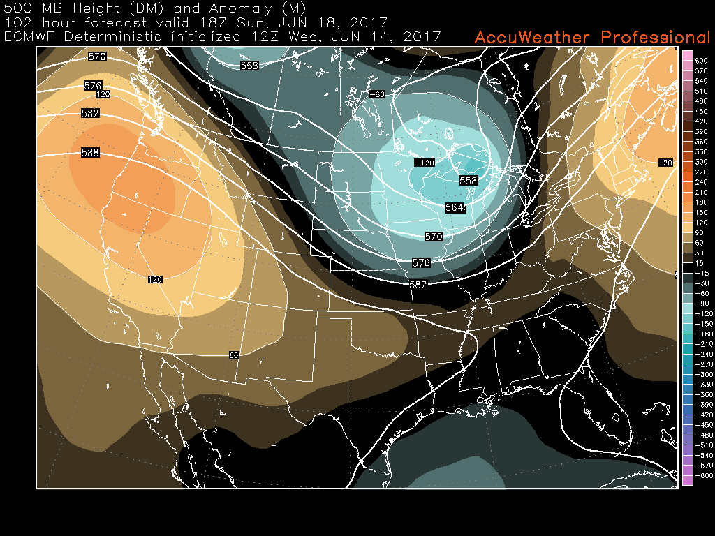 This afternoons European model showing a large upper level trough moving in from the Pacific Northwest , strengthening over the Great Lakes region and providing multiple chances of rain on both Sunday and Monday