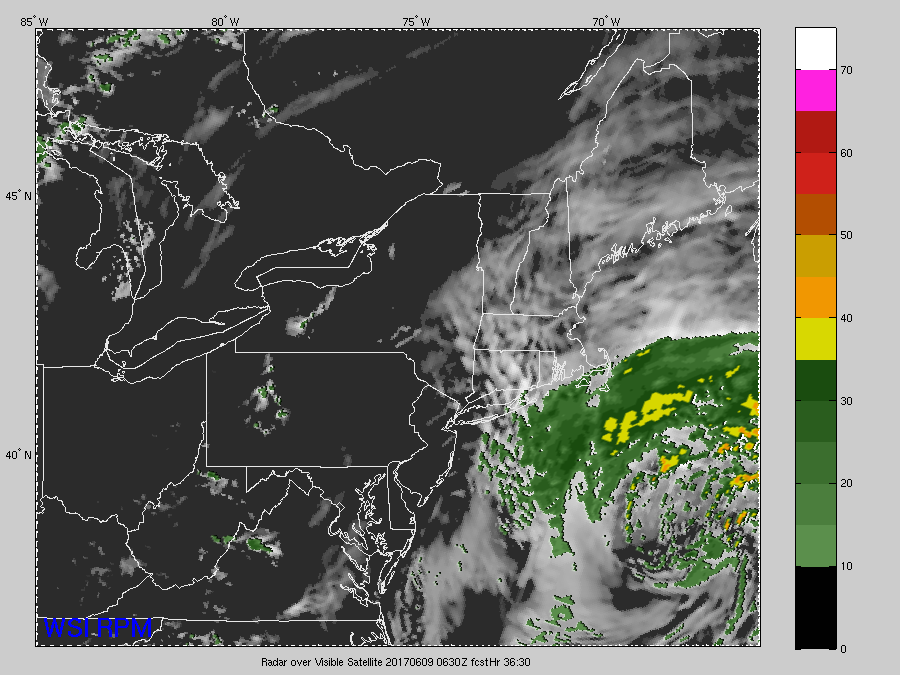 This evenings latest Rapid Precision Model showing the coastal low exiting well to the east of the area, with only the eastern fringes of Long Island and Connecticut seeing any impacts (Courtesy of WSI)