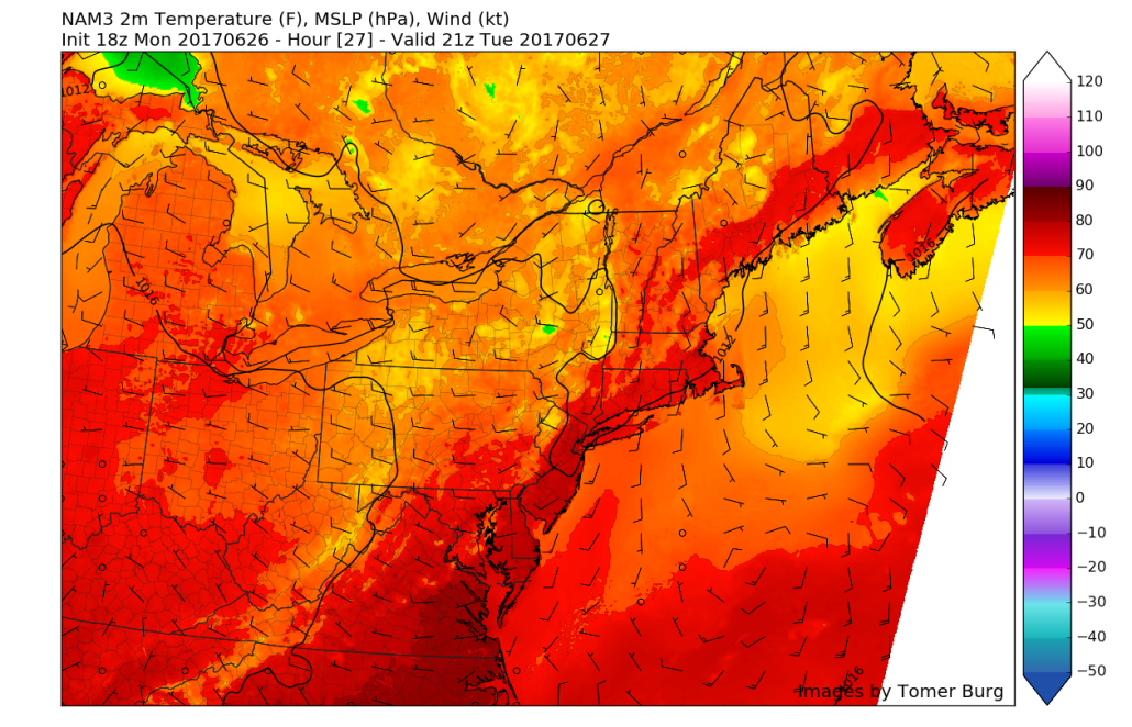 This afternoons high resolution North American model showing a very pleasant day on Tuesday afternoon just before a cold front works its way on in from the west, bringing yet another mild and dry airmass (Courtesy of Tomer Burg)