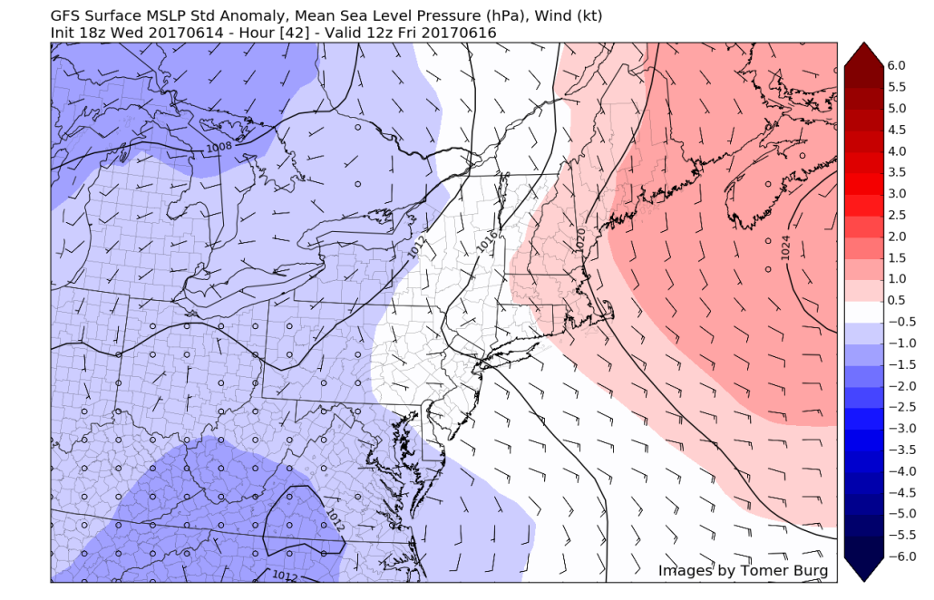 This afternoons GFS model showing the eastward progression of the high pressure system leading to a frontal boundary over the Delmarva peninsula increasing low level easterly/southeasterly winds. At the very least, increased clouds are expected Thursday evening (Courtesy Tomer Burg UAlbany)