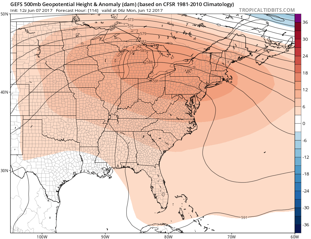 A large ridge develops over the region next week and temperatures will warm dramatically.