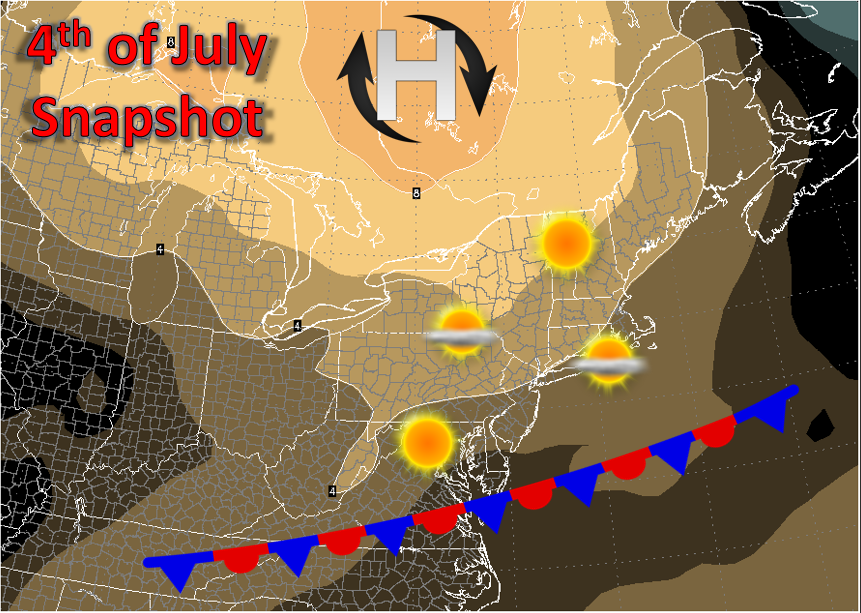 A quick summary of the conditions for the Fourth of July-orange colors denote areas of higher than normal pressure