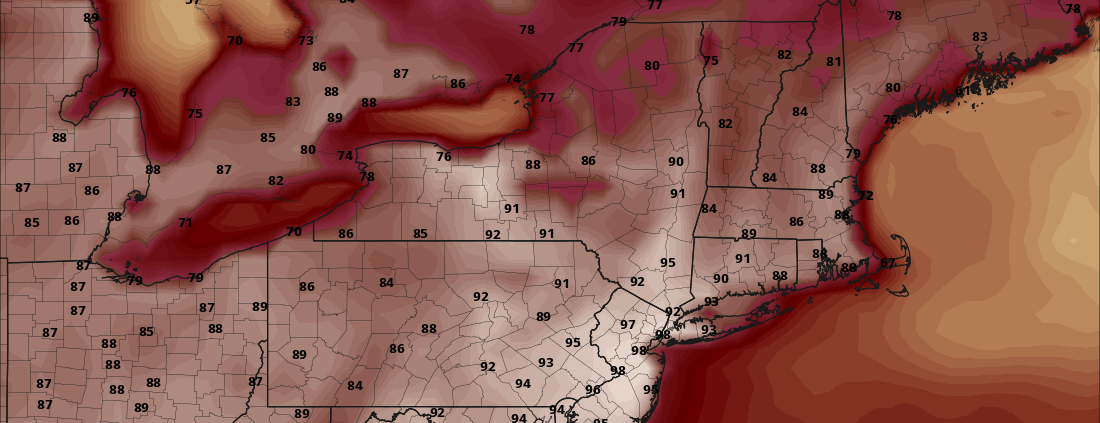 European model showing temperatures working their way into the lower 90's for the beginning of next week  (raw temperatures only-does not take heat indices into account)