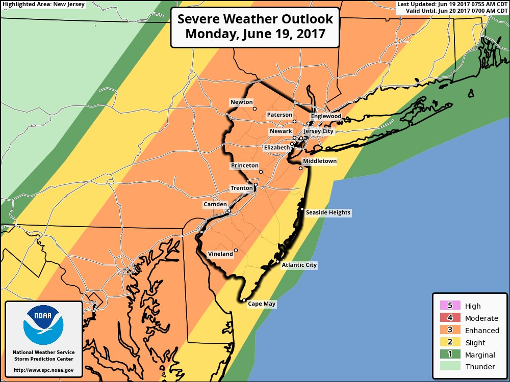 Storm Prediction Center forecasting an enhanced risk of severe storms today.