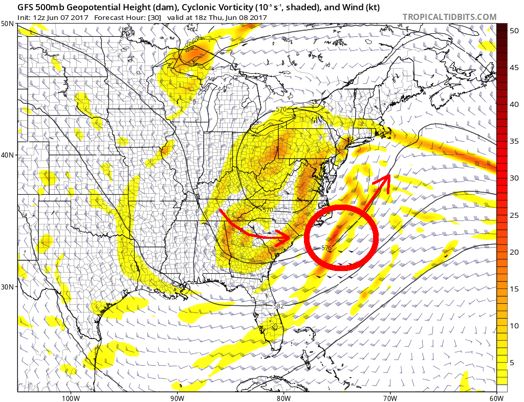 Forecast models show the developing coastal storm swinging eastward and out to sea.
