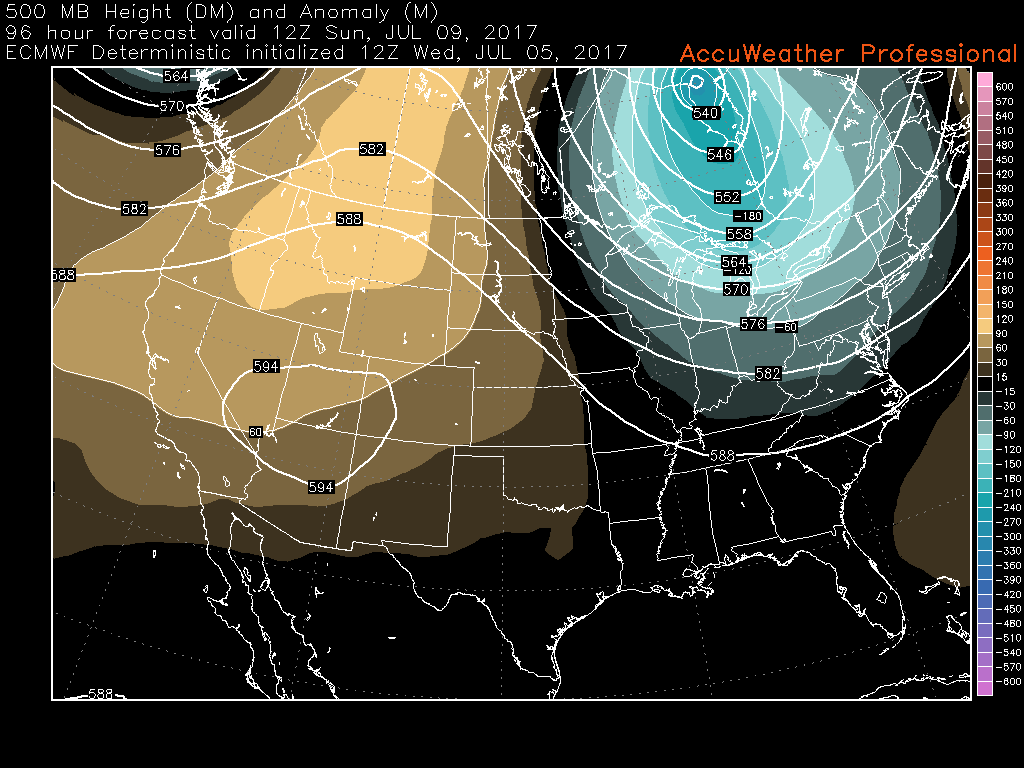 This afternoons European model showing an increased potential for an area of troughiness to develop over the Ohio Valley and Northeast later this weekend (Courtesy of Accuweather Pro)