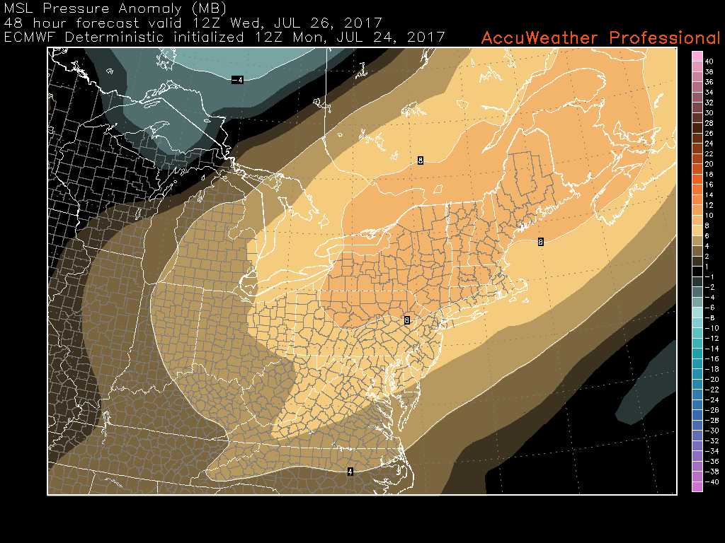 This afternoons European model showing a large area of high pressure moving in over the Northeast during the early morning hours on Wednesday, making for a very cool and pleasant day with low humidity and few clouds! (Courtesy of Accuweather Pro)