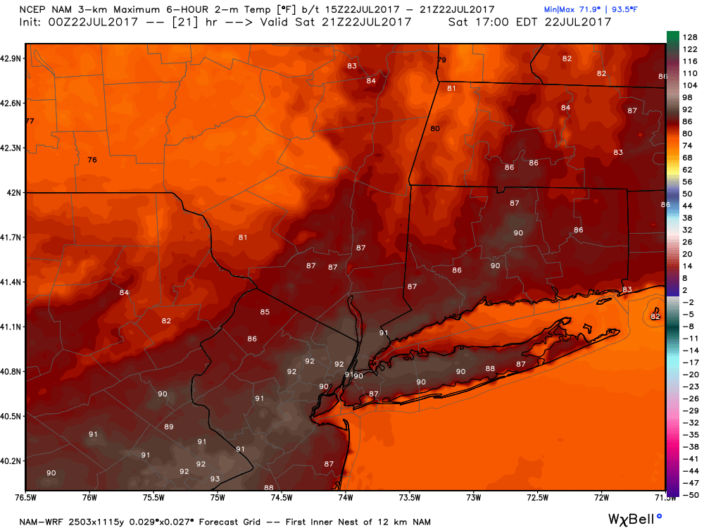 NAM high temperatures for today
