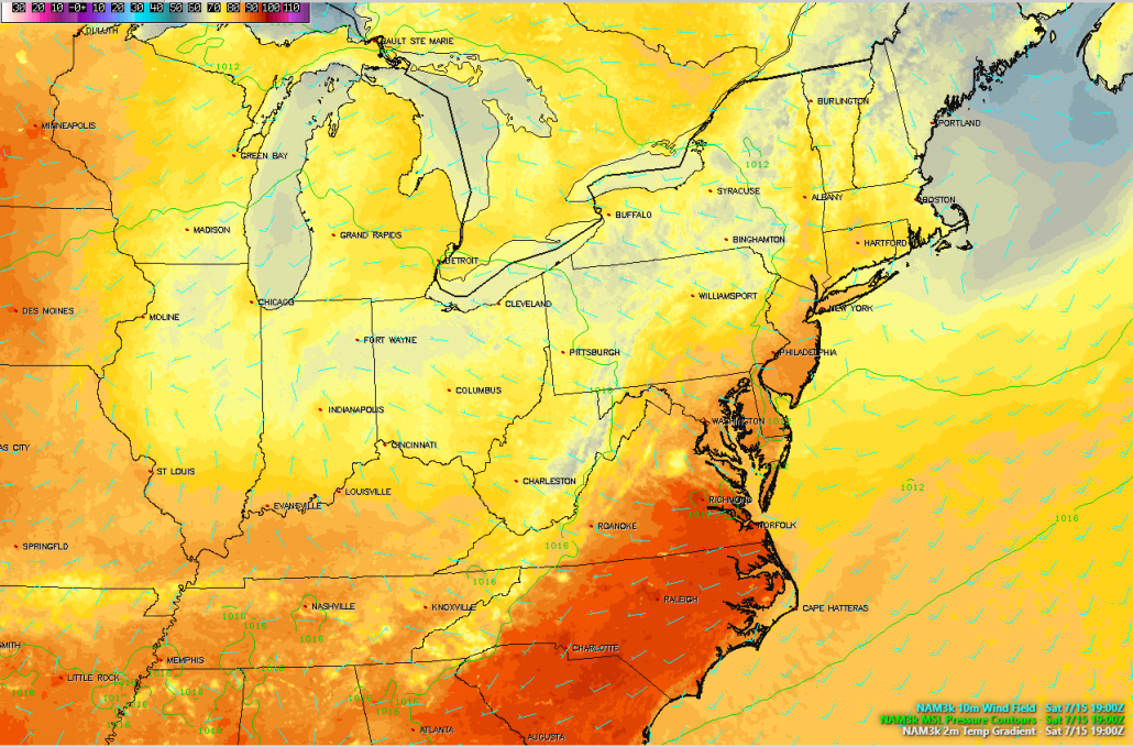 This afternoons high resolution North American Model, showing light northwesterly winds, warm temperatures, and an overall pleasant airmass over the area, which should make for a beautiful day!