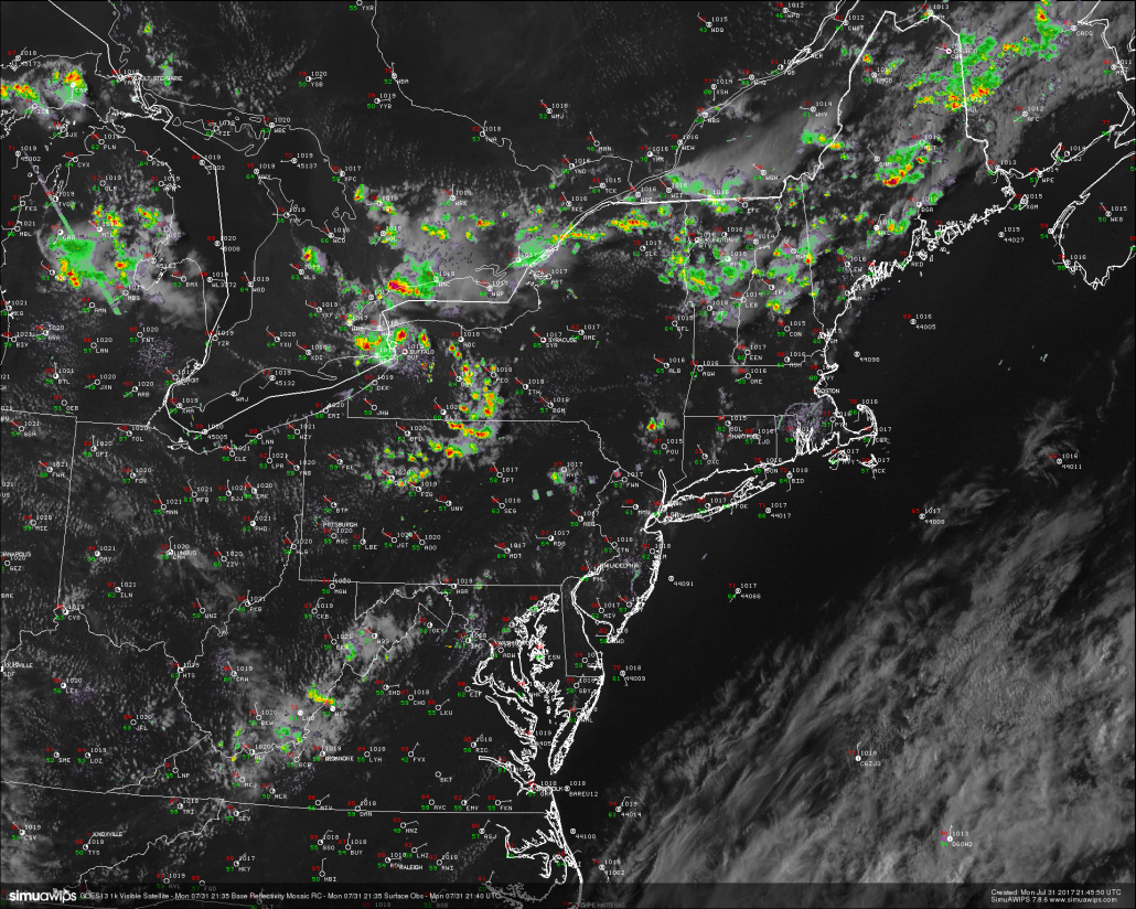This evenings latest high resolution radar mosaic, visible satellite imagery, and surface observations, showing a very nice and clear day over much of the Northeast. Some showers and thunderstorms were ongoing over portions of PA and NY. but these are expected to dissipate later this evening (Courtesy of Simuawips)