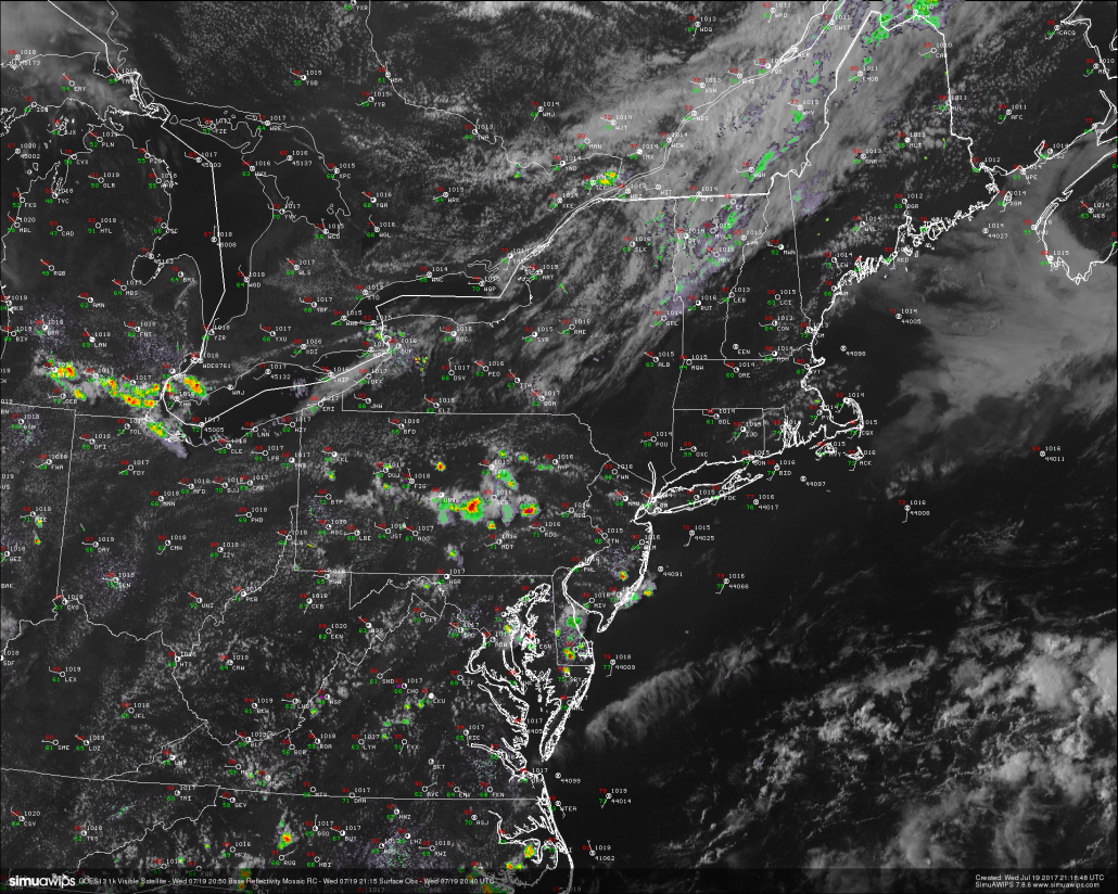 This evenings latest high resolution satellite imagery, regional radar mosaic, and surface observations,showing a very warm and humid day across the area with some scattered shower and thunderstorm activity to our west (Courtesy of Simuawips.com)