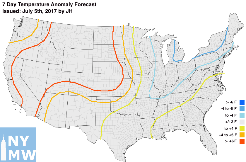 Temperature anomaly forecast through the next 7 days.