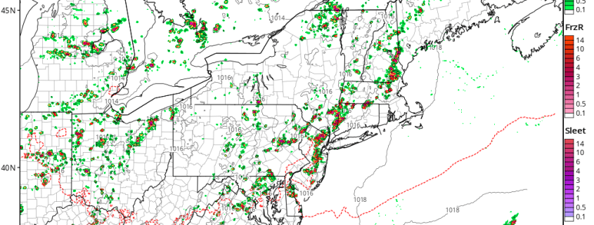 Tuesday afternoon's 3km NAM model showing clusters of thunderstorms in New Jersey on Wednesday afternoon (Tropical Tidbits).