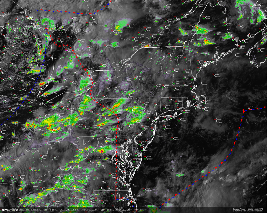This evenings latest high resolution GOES-16 visible satellite imagery, regional radar mosaic, surface observations, and frontal postilions-showing showers and thunderstorms mainly concentrated to the west of the area this evening (Courtesy of Simuawips)