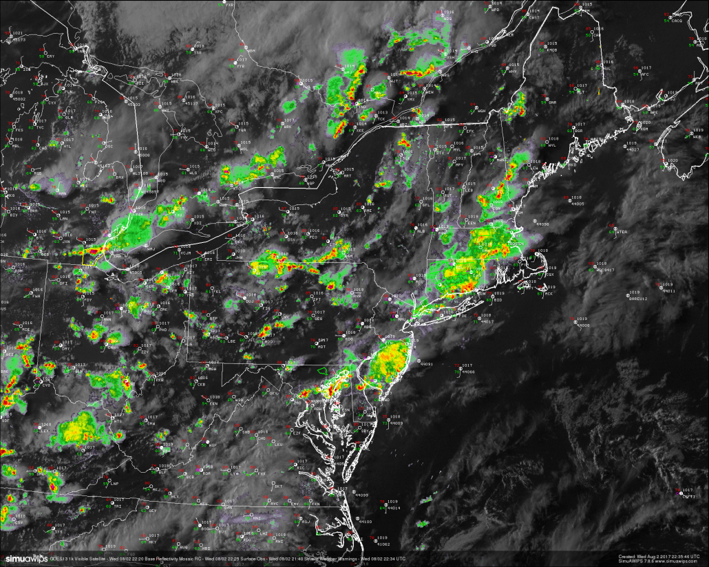 This evenings latest regional radar. high resolution visible satellite, surface observations. and severe warnings, showing the bulk of the heavy rain dying off. This trend should continue as we head deeper into the evening (Courtesy of Simuawips)