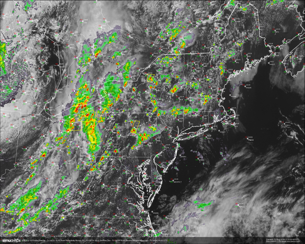 This afternoons latest regional radar mosaic, high resolution visible satellite imagery, surface observations, and severe warnings. Courtesy of Simuawips)
