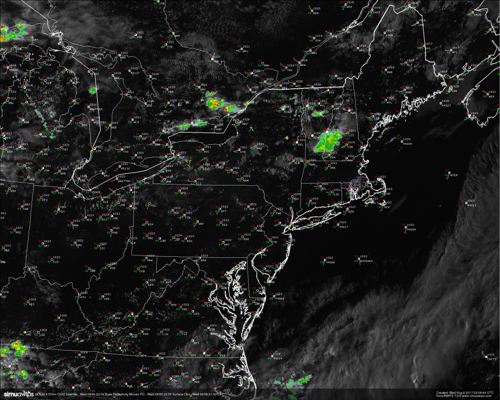 This evenings latest high resolution 500m GOES 16 visible satellite imagery, regional radar mosaic, and surface observations, showing a very pleasant and calm evening across the entire Northeastern region. (Courtesy of Simuawips.com GOES-16 data is preliminary and non-operational)