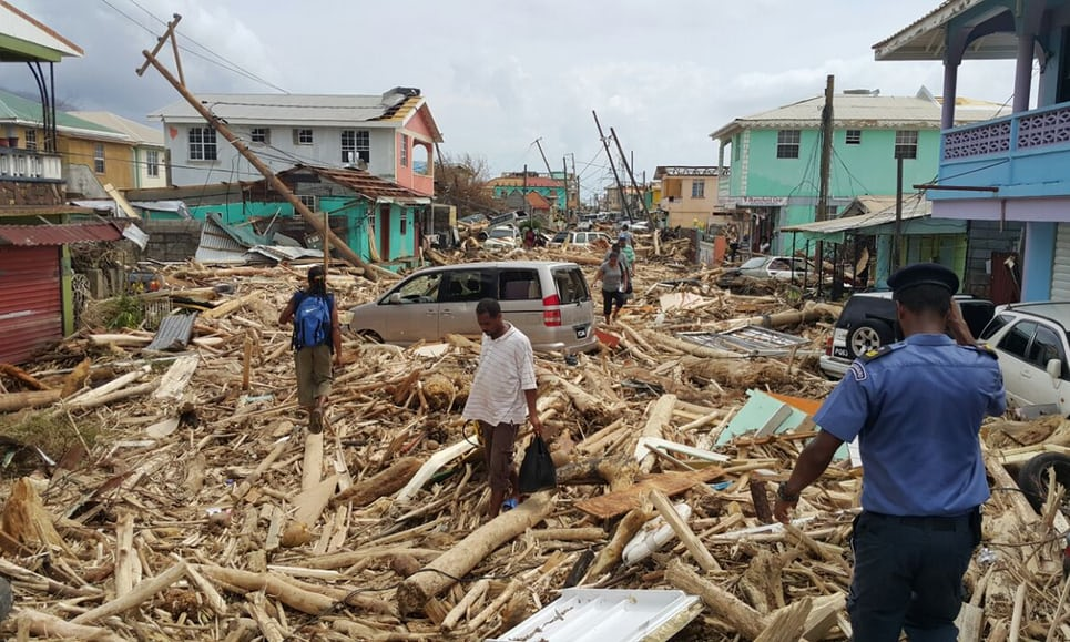 Damage from Hurricane Maria when it hit the island of Dominica as a Category 5 hurricane with winds of up to 160 miles per hour (Credit: The Guardian)