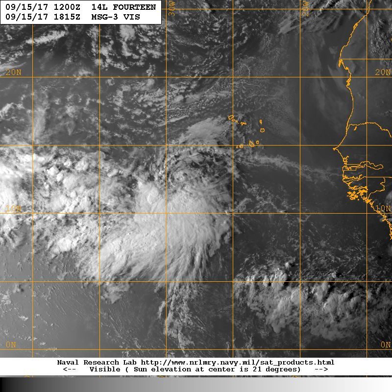 Afternoon visible shot of Tropical Depression 14 over the far Eastern Atlantic