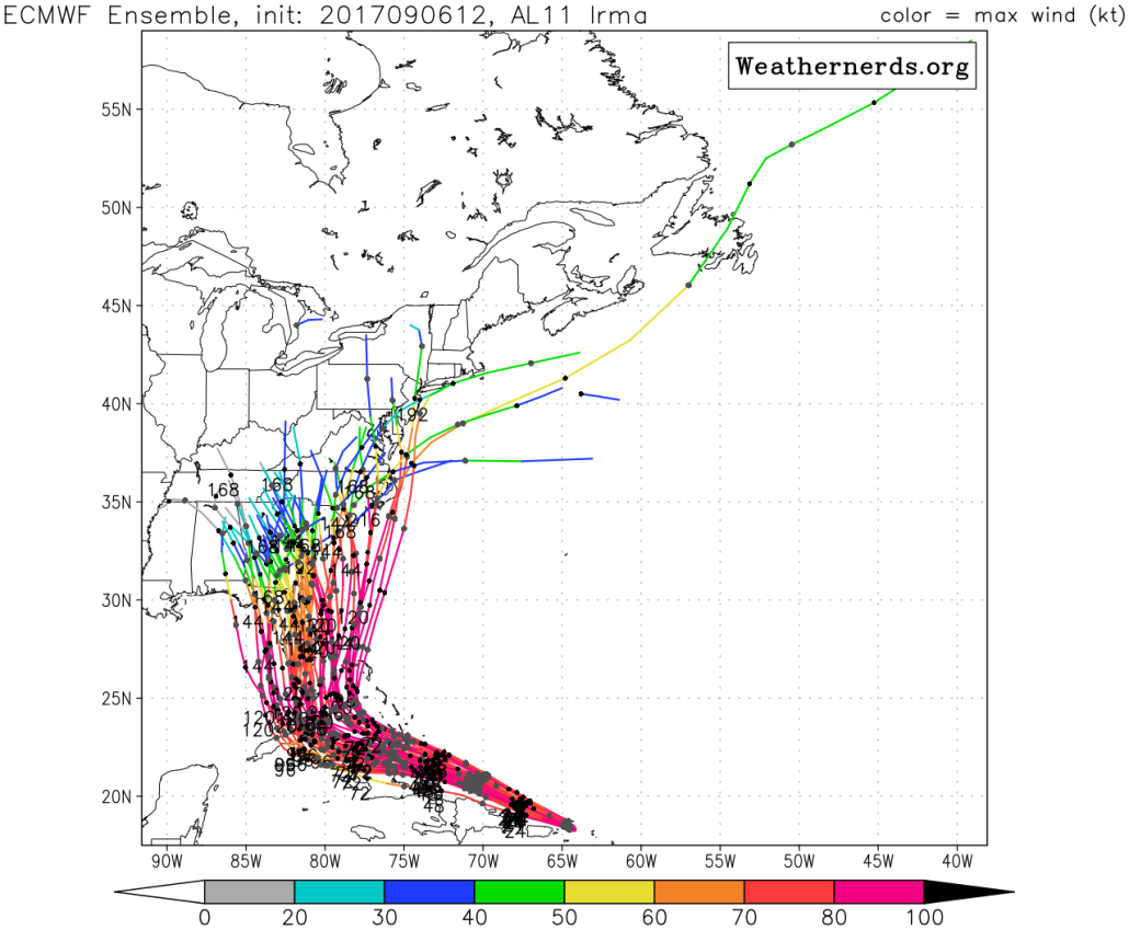 This afternoons European Ensembles showing a variety of tracks, but with the vast majority of the members impacting Florida, as well as other states along the East coast (Courtesy of Weathernerds.org)