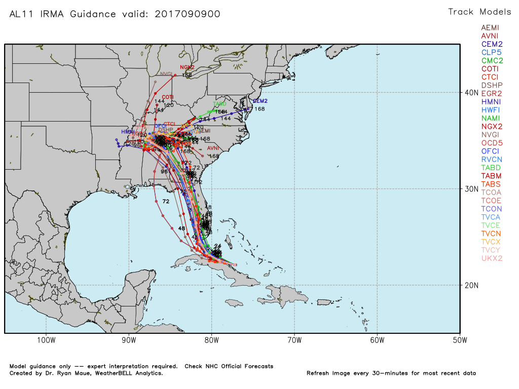 Latest storm-specific model tracks for Irma, showing a considerable shift away from SE FL (Courtesy of weatherbell)