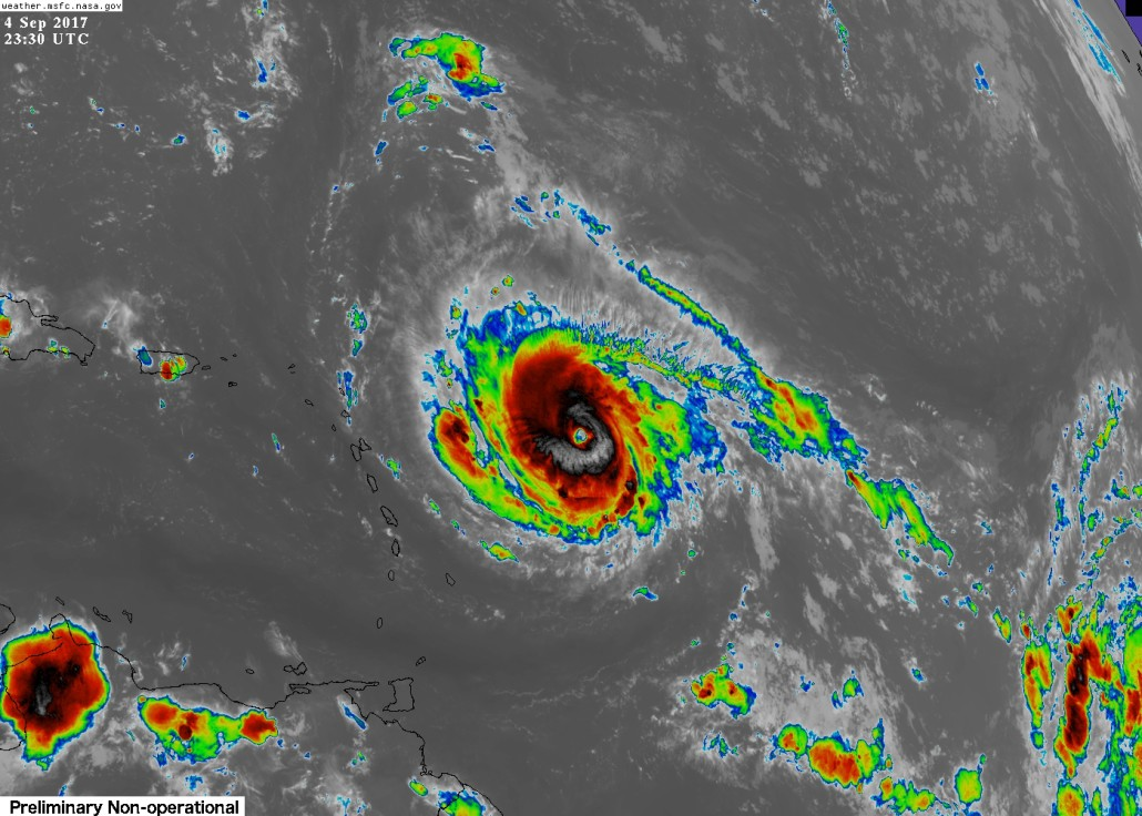 Category 4 Hurricane Irma over the Central Atlantic this evening as seen by GOES 16.