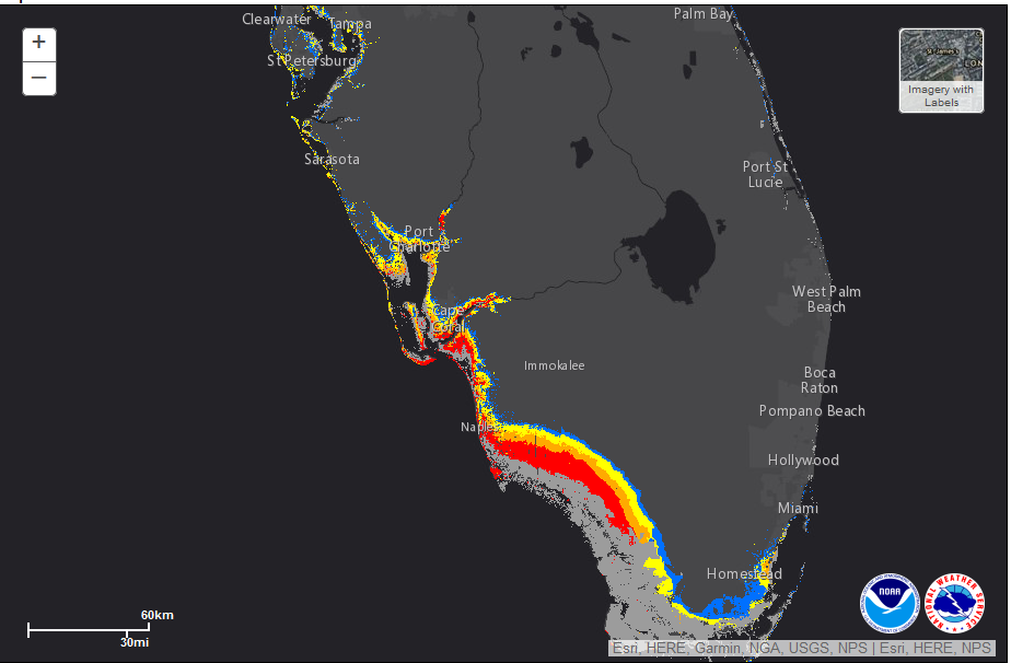 Potential Storm Surge greater then 9 ft above ground courtesy of the National Hurricane Center