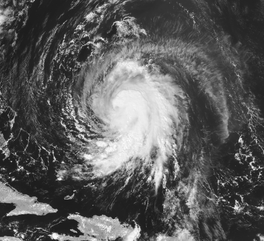 Current hi-res visible satellite imagery of Tropical Storm Jose over the open Atlantic with 70mph winds.