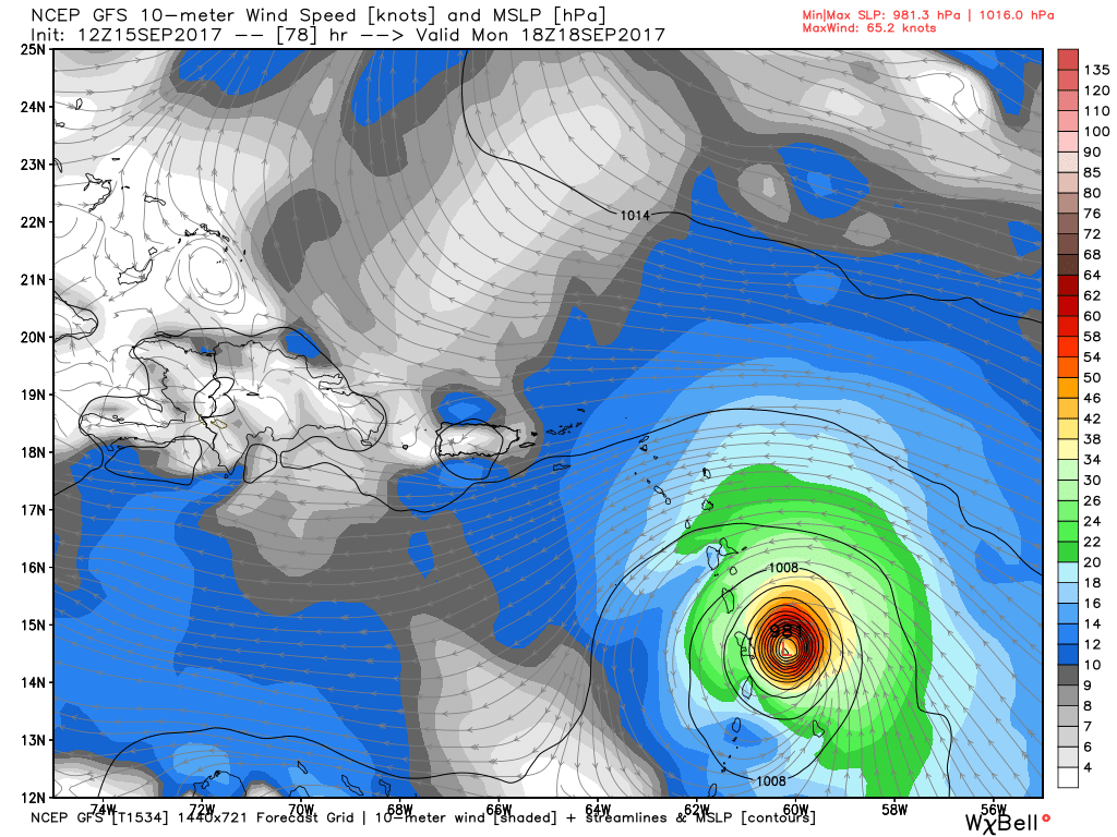 This afternoons GFS model showing 96L becoming a strong tropical storm/hurricane just before reaching the Lesser Antilles
