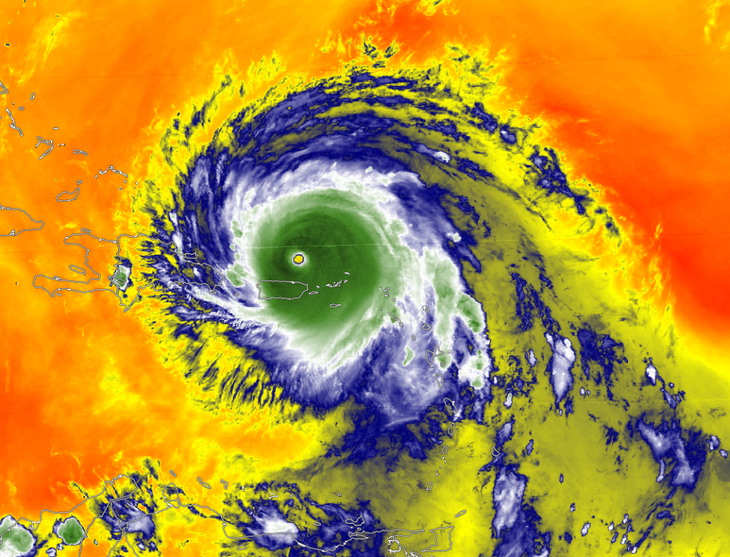 Water Vapor imagery of Hurricane Irma with winds up to 185 mph winds. Notice the wispy blue clouds expanding from the north and south, indicative of a very favorable environment.