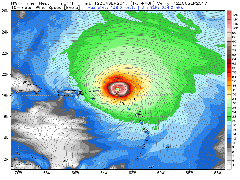 12z HWRF showing a very dangerous Hurricane Irma over the northern Leeward Islands (Valid 8am Wednesday)