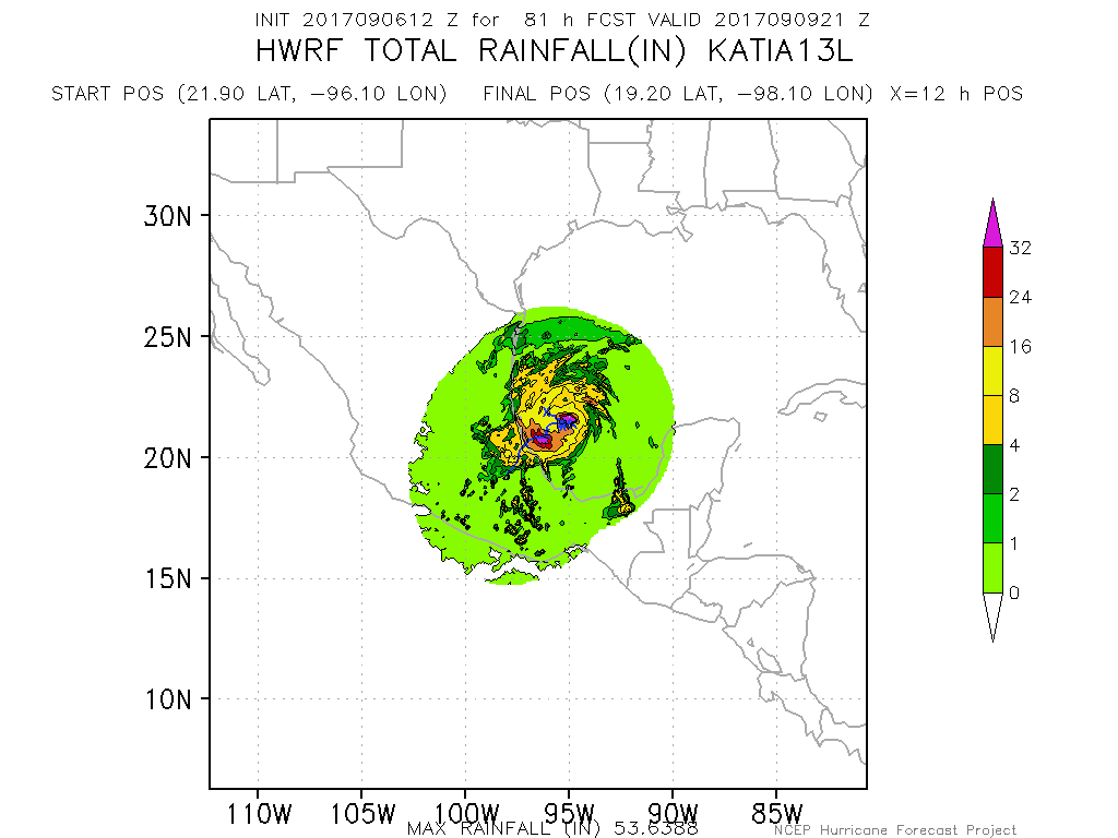 This afternoons rainfall projection from the HWRF model showing very heavy rainfall amounts just off the Mexican coastline. Katia will need to be monitored closely for a potentially deadly mudslide event (Courtesy of NOAA HRD/HWRF)