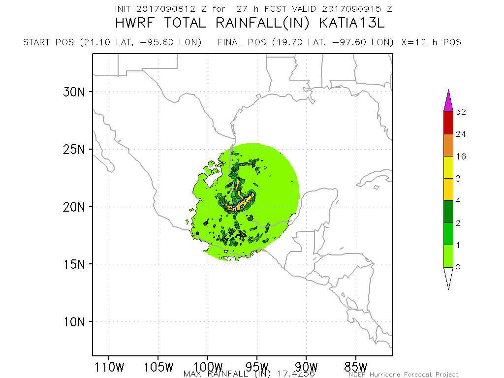 This afternoons HWRF model showing potential rainfall accumulations over portions of Mexico during the next few days. Life-thretening mud slides will be possible as the storm moves inland (Courtesy of NOAA HRD/HWRF)