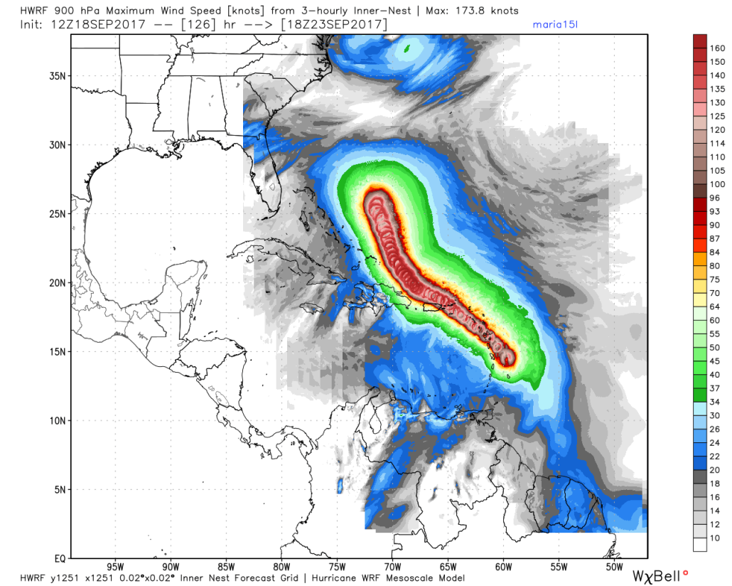 This afternoons HWRF model showing Maria impacting the US virgin islands and coming extremely close to Puerto Rico