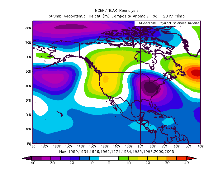 A quick look at weak La Nina and negative neutral ENSO analogs with a -QBO for November actually do show an Aleutian Low and +PNA, indicating that perhaps the progression forecast on the EPS is typical for our current ENSO situation. (ESRL)