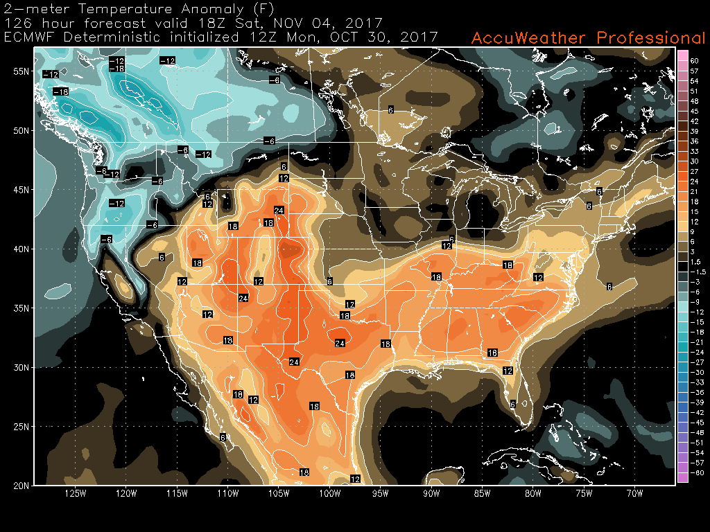 Snapshot from the 12z ECMWF model showing slightly above normal temperatures during next weekend with the return of higher heights in the east