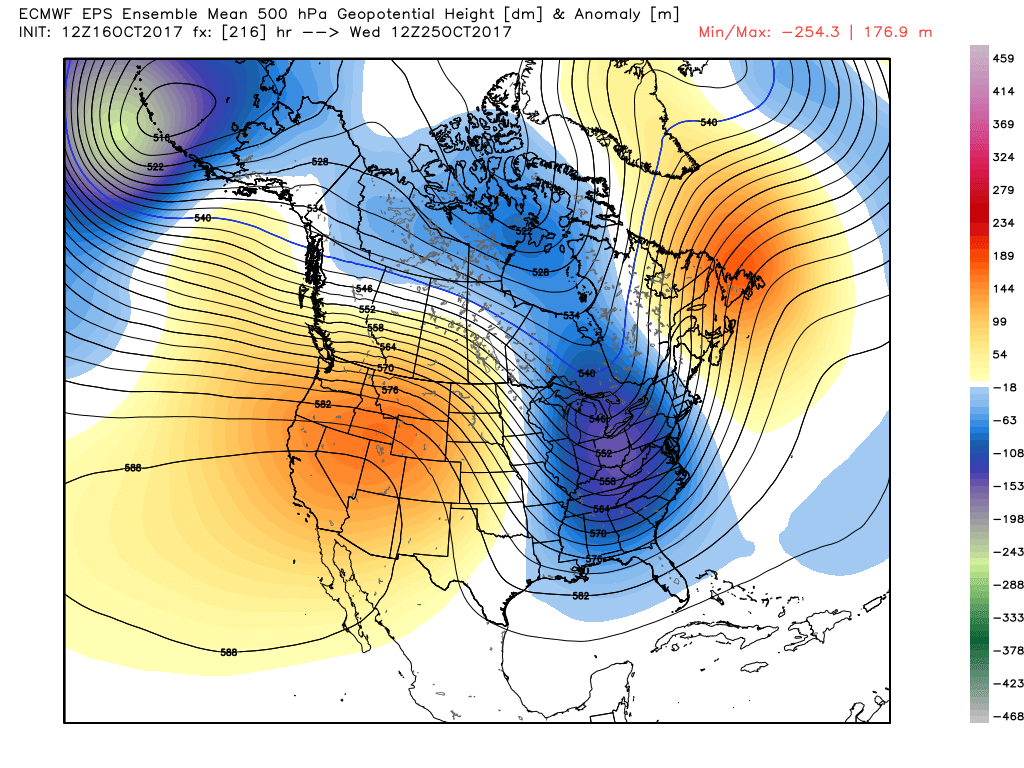 ECMWF Ensembles showing a deepening trough beginning to set up over the east by the middle of next week