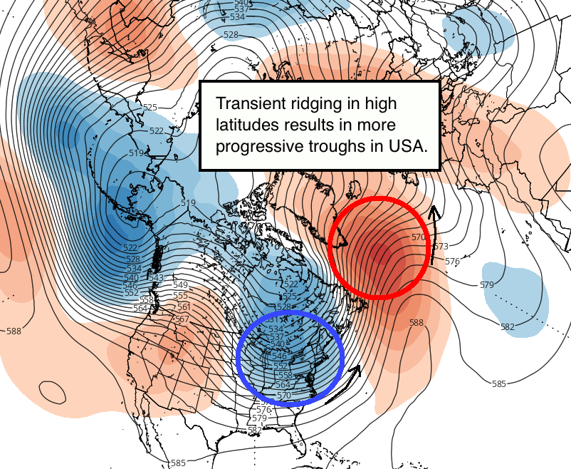 GEFS guidance valid for around October 26th shows a large trough in the East and a storm signal, but downstream high latitude ridging near Greenland does not turn into a block (Tropical Tidbits).