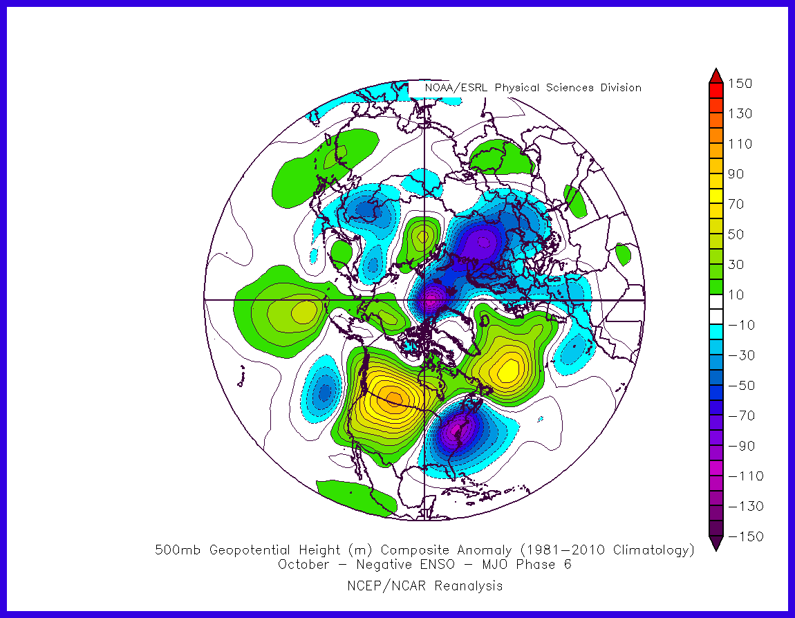 500mb mean anomaly composite for October with the MJO in phase during negative ENSO period