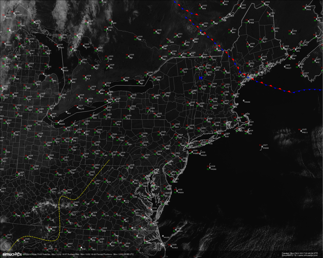 High resolution visible satellite imagery from GOES 16 showing extremely quiet and clear conditions across the Northeast (Simuawips)