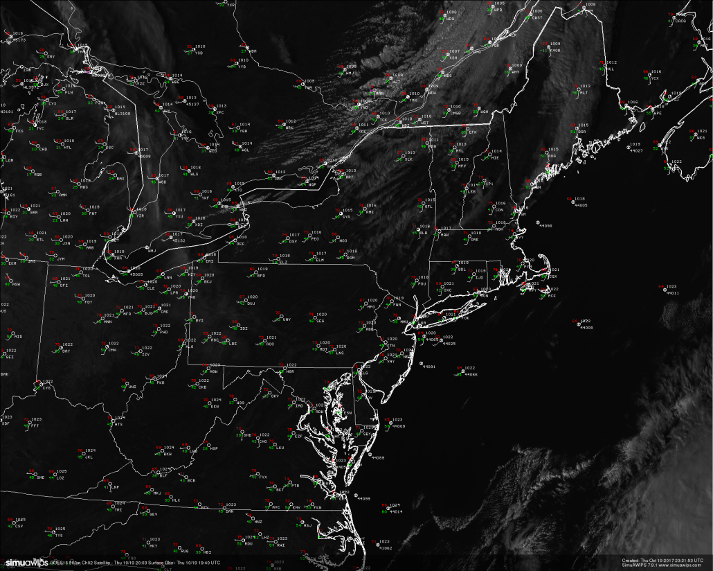 Surface observations and high resolution satellite imagery from GOES 16 showing relatively tranquil conditions over much of the Northeast this afternoon/evening with mild temperatures (Simuawips)