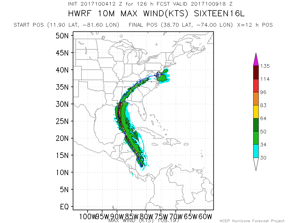 This afternoons HWRF model showing TD16 steadily strengthening into a strong hurricane before landfall along the Gulf Coast