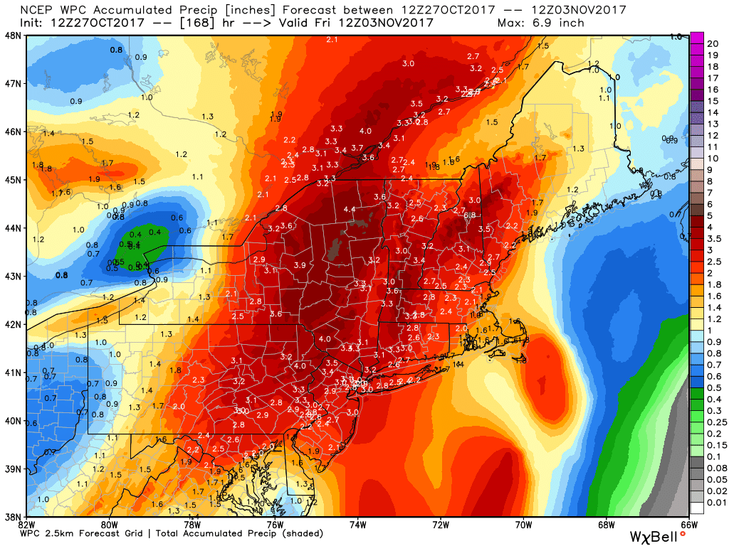 Total rain accumulation from the Weather Prediction Center