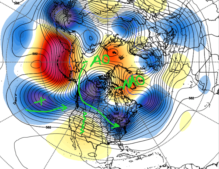 Long Range ECMWF Ensembles centered on next weekend illustrating an active pattern with potential cold air intrusion.