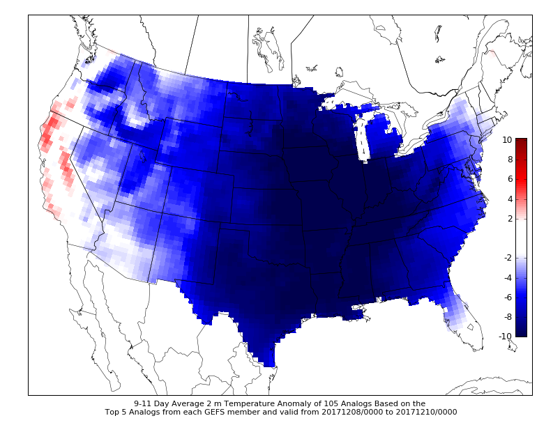 University of Wisconsin CIPS analogs based on the GEFS showing extremely high probabilities for below normal temperatures starting as soon as next week!