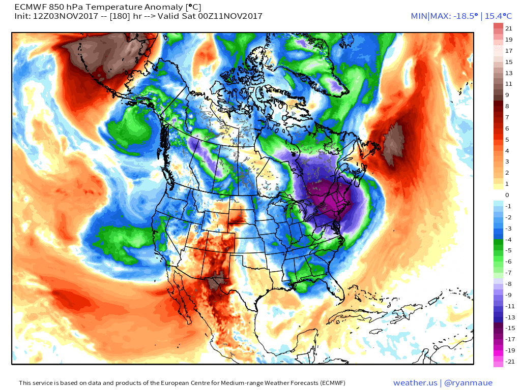 This afternoons ECMWF model showing a sharp shot of cooler temperatures over the Northeast by the end of next week