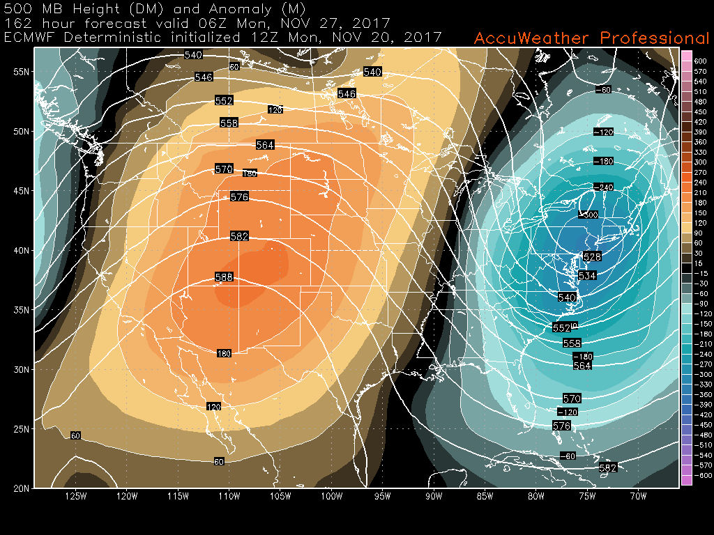 This afternoons ECMWF model showing the potential for a potent, but quick-hitting cold shot by the end of next weekend.