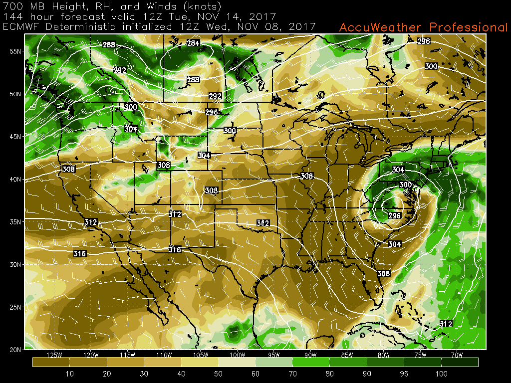 This afternoons ECMWF model showing a potential coastal storm for the beginning of the work week next week